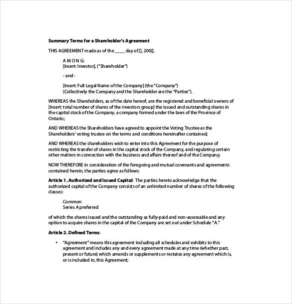 Shareholder Agreement Templates u2013 9+ Free Word, PDF Document - shareholder agreement