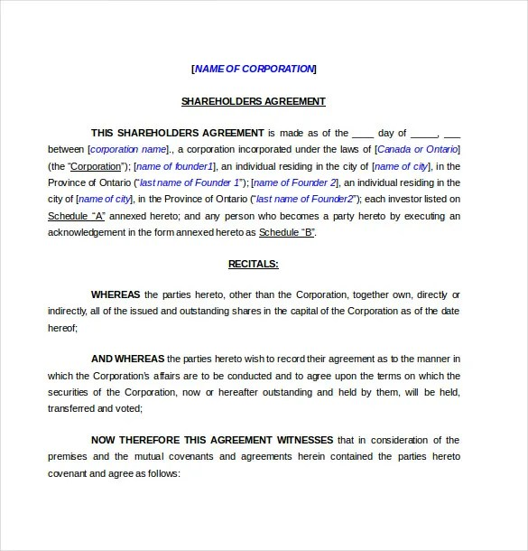 Shareholder Agreement Templates \u2013 11+ Free Word, PDF Document - agreement in word