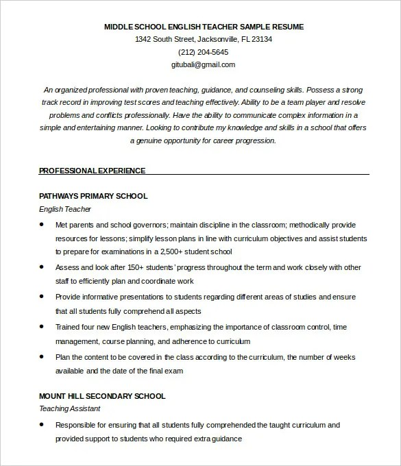 free teaching resume template - Onwebioinnovate