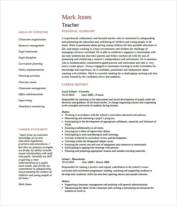 education cv template - Boatjeremyeaton