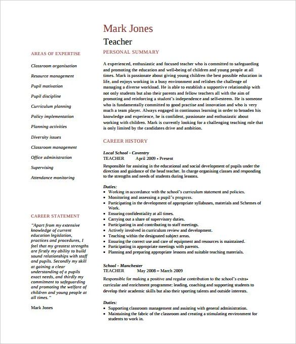 english template cv pages