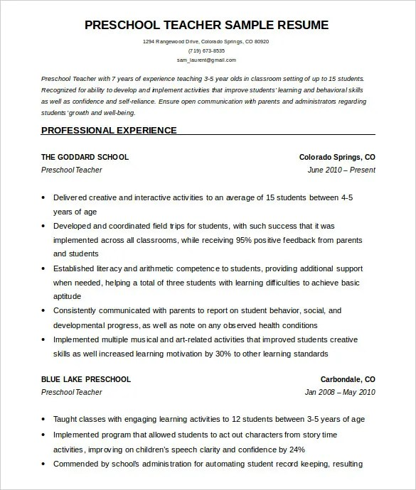 51+ Teacher Resume Templates u2013 Free Sample, Example Format - sample resume format for freshers