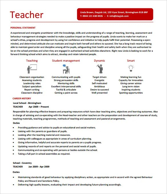 50+ Teacher Resume Templates - PDF, DOC Free  Premium Templates - teacher job description resumes