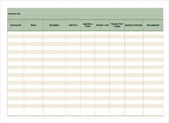 Inventory List Template - 4 Free Word, Excel, PDF Documents - inventory list template