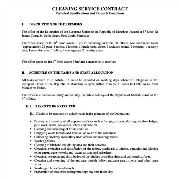Cleaning Contract Template - 17+ Word, PDF Documents Download Free