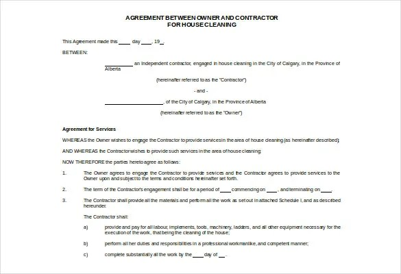 Cleaning Contract Template - 17+ Word, PDF Documents Download Free - agreement form doc