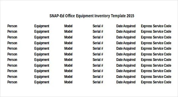 Equipment Inventory Template - 14 Free Word, Excel, PDF Documents - mechanical equipments list