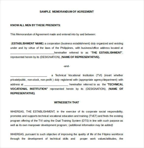 sample memorandum of agreement between two parties