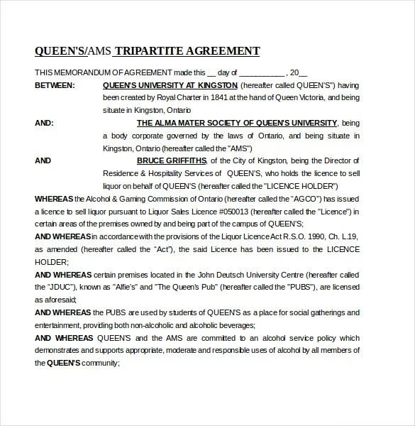 Memorandum of Agreement Template \u2013 12+ Free Word, PDF Document - agreement between two parties template