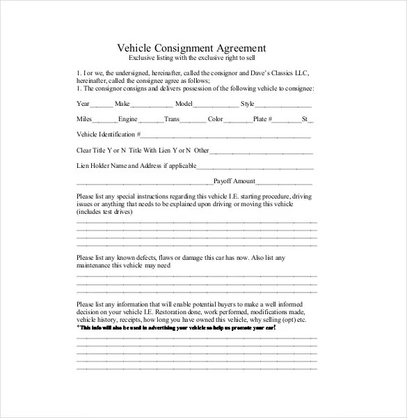 Consignment Agreement Template \u2013 12+ Free Word, PDF Document