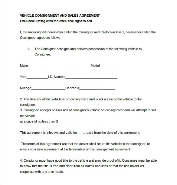Consignment Agreement Template \u2013 12+ Free Word, PDF Document - Auto Contract Template