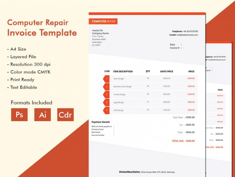 Modern Computer Repair Invoice Template Free  Premium Templates