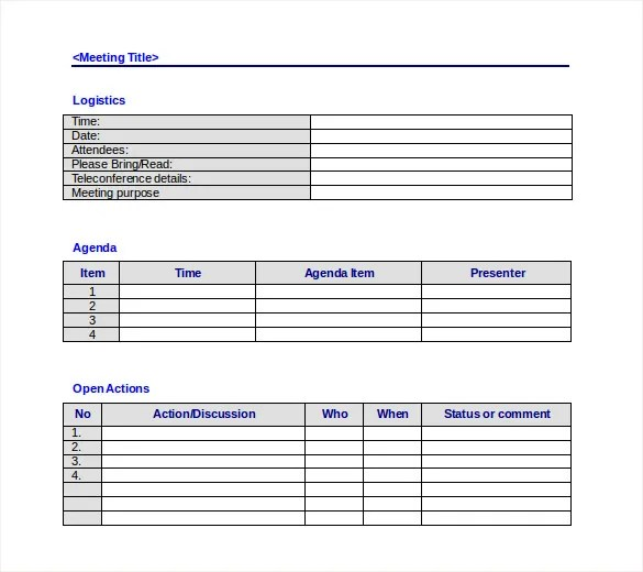 Meeting Agenda Template - 46+ Free Word, PDF Documents Download - meeting minutes agenda template