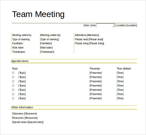 50+ Meeting Agenda Templates - PDF, DOC Free  Premium Templates - meetings template