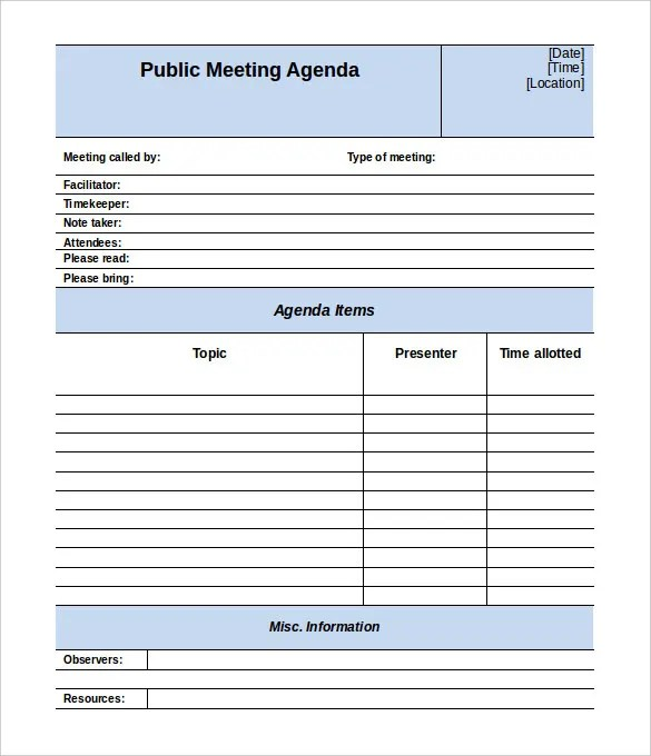 Good ... Meeting Agenda Template   46+ Free Word, PDF Documents Download   Cool Agenda  Templates ...  Blank Meeting Agenda Template