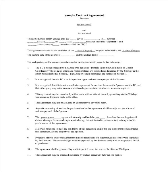 Contract Agreement Template u2013 12+ Free Word, PDF Document Download - agreement form doc