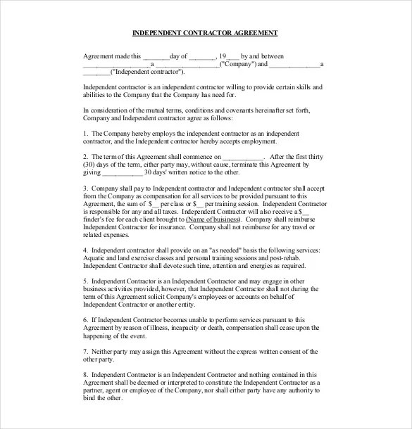 Payment Agreement Contract Subcontractor Agreement 10 Need A - subcontractor agreement template