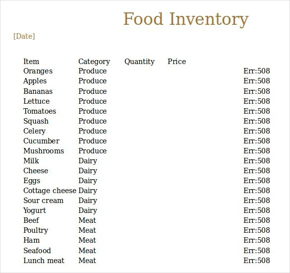 Food Inventory Template - 11 Free Excel, PDF Documents Download - food inventory template