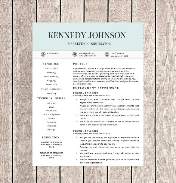 41+ One Page Resume Templates - Free Samples, Examples,  Formats - how to get resume template on word