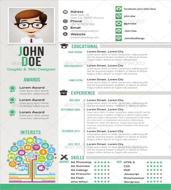 template cv psd one page