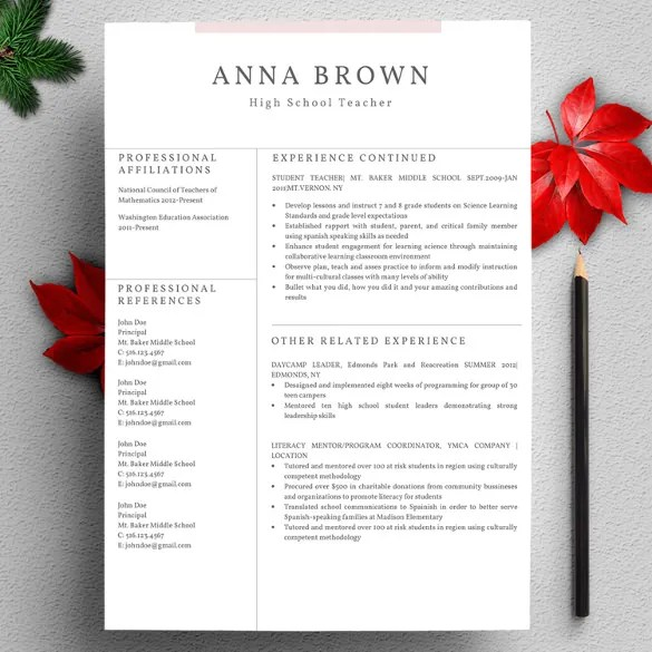 41+ One Page Resume Templates - Free Samples, Examples, \ Formats - resume download template