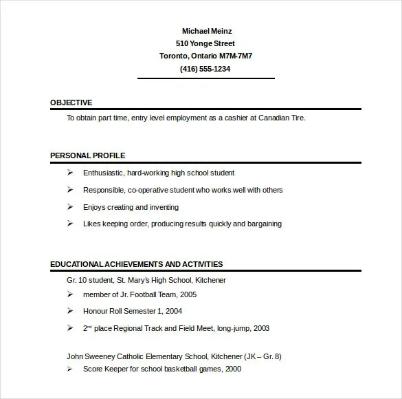 sample one page resumes sample one page resumes - 1 page resume template