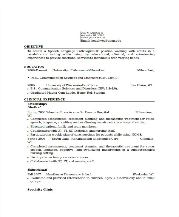 6+ Pathologist Resume Templates - PDF, DOC Free  Premium Templates - sample speech pathology resume