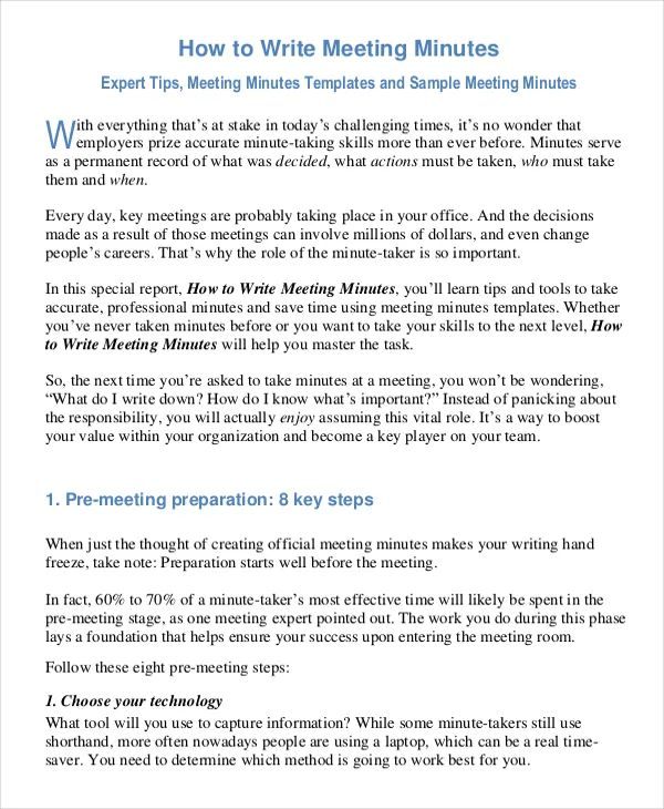 template for meeting minutes
