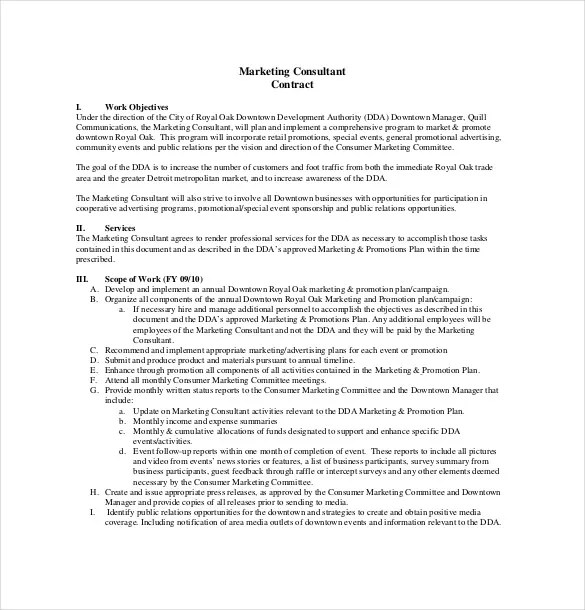 Consultant Agreement Template \u2013 15+ Free Word, PDF Documents - consulting contract template