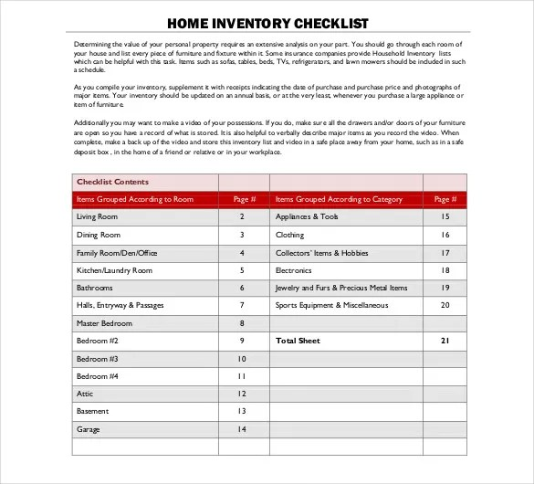Sample Inventory List - 30+ Free Word, Excel, PDF Documents Download - sample excel checklist template