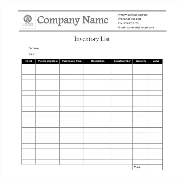 business inventory list - Towerssconstruction