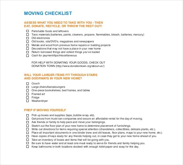 Sample Moving Checklist Checklist For Moving Into A New House