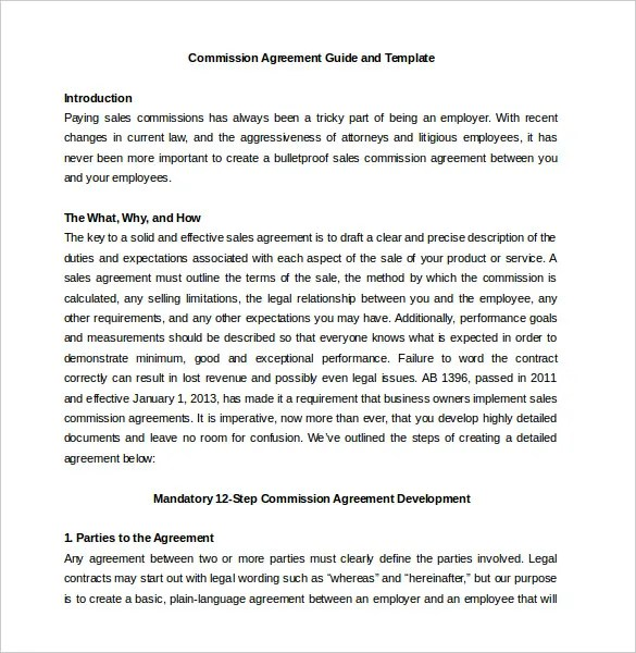 Commission Agreement Template - 22+ Free Word, PDF Documents - Legal Agreement Contract