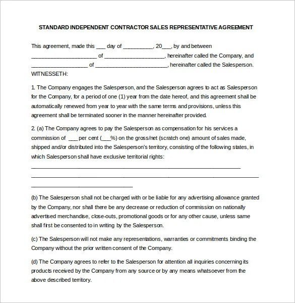 Commission Contract Template Commission Agreement Template - sales agent contracts