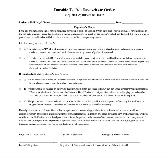 44+ Blank Order Form Templates - PDF, DOC, Excel Free  Premium - do not resuscitate forms