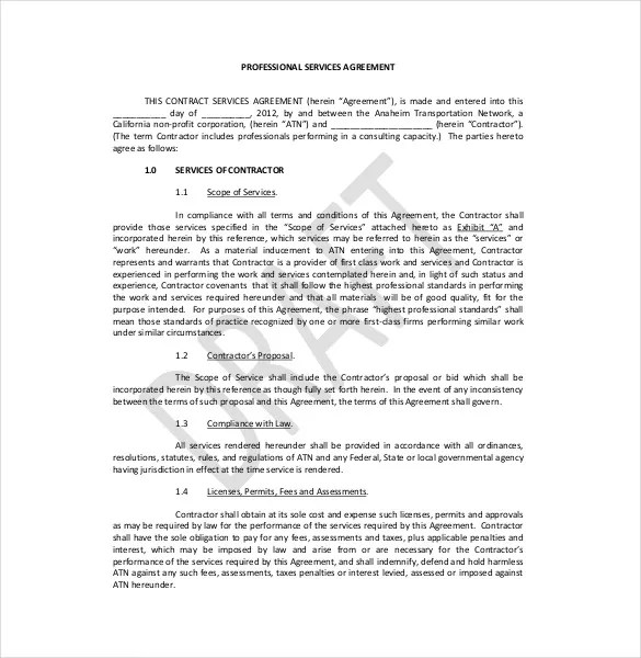 Legal Agreement Template u2013 9+ Free Word, PDF Documents Download - it service agreement template