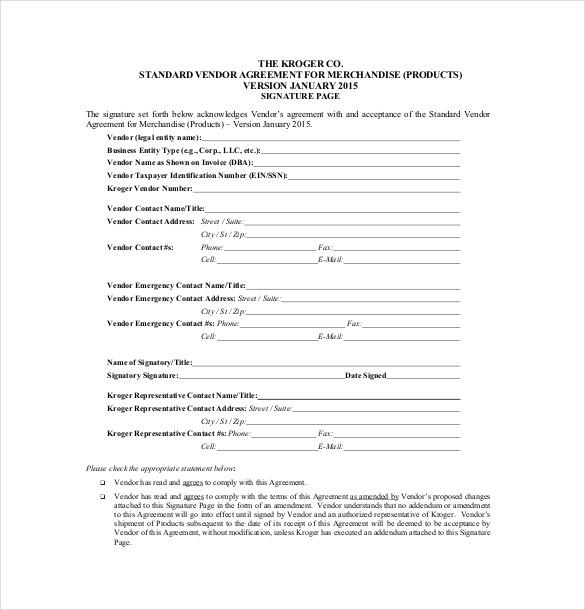 Vendor Agreement Template \u2013 26+ Free Word, PDF Documents Download