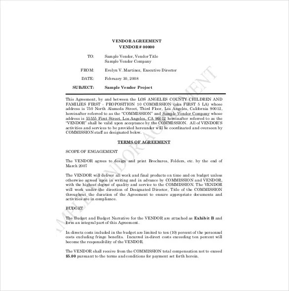Vendor Agreement Template \u2013 18+ Free Word, PDF Documents Download