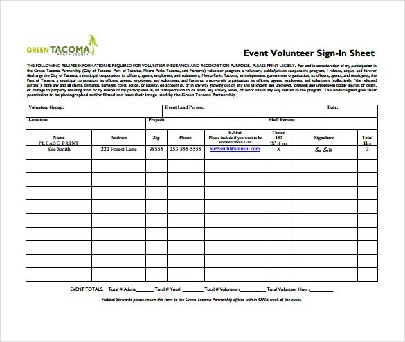 volunteer timesheet template template - sample event sign in sheet template