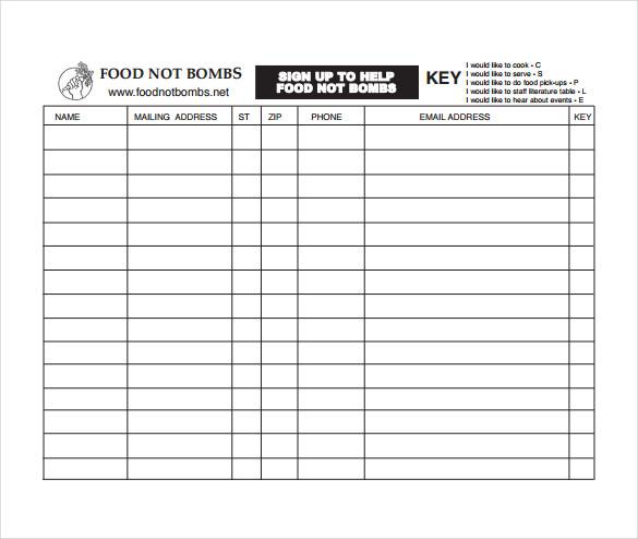 10+ Sign Up Sheet Templates u2013 Free Sample, Example, Format - sample sign up sheet