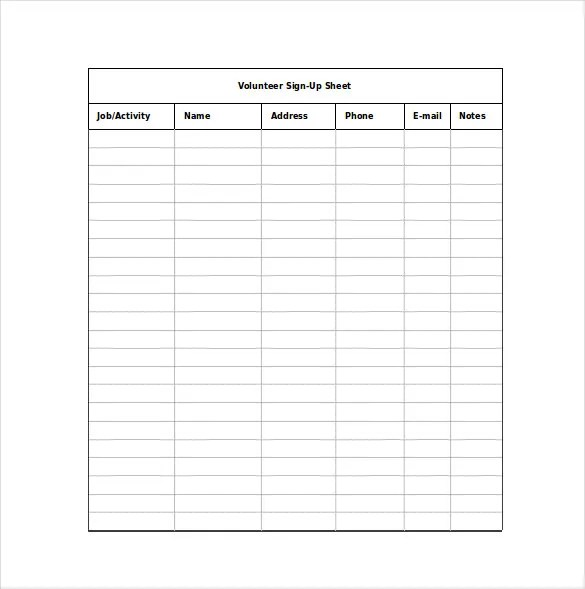 10+ Sign Up Sheet Templates u2013 Free Sample, Example, Format - excel sign in sheet template