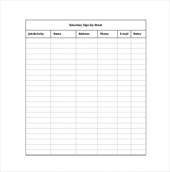 lunch sign up sheet