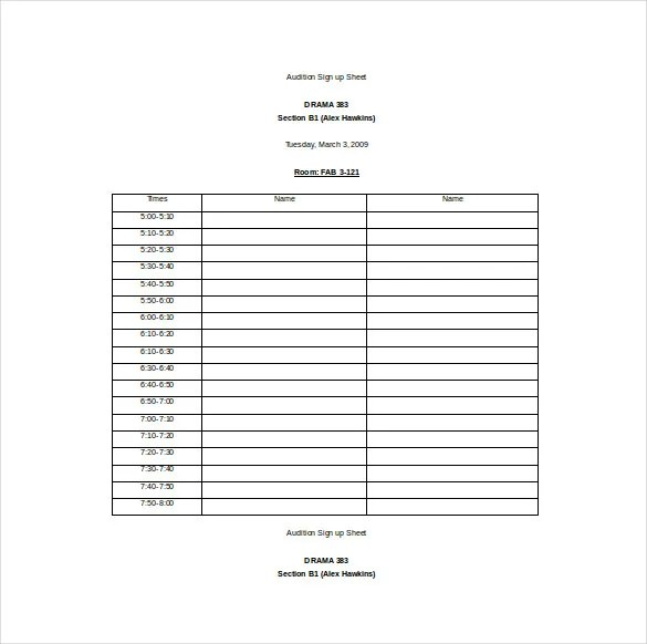 Sample Seminar Sign In Sheet Free Sample Volunteer Sign In Sheet