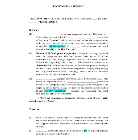 Investment Agreement Template -12+ Free Word, PDF Documents - investment management agreement