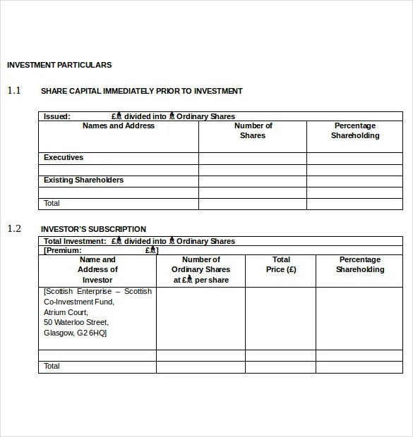 15+ Investment Agreement Templates - PDF, DOC, Xls Free  Premium