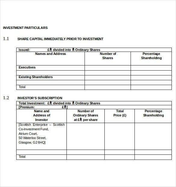 small business investment agreement template