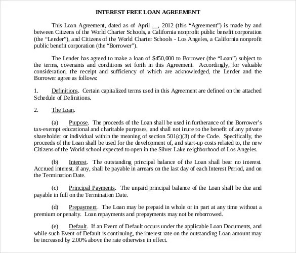 Loan Contract Template – 20+ Examples In Word, Pdf | Free