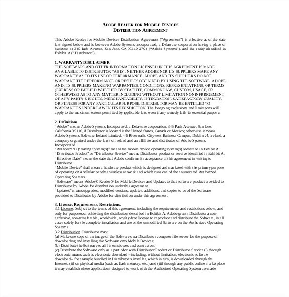 Distribution Agreement Template \u2013 15+ Free Word, PDF Documents