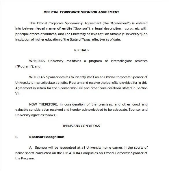 Sponsorship Agreement Template \u2013 10+ Free Word, PDF Documents - sponsorship agreement