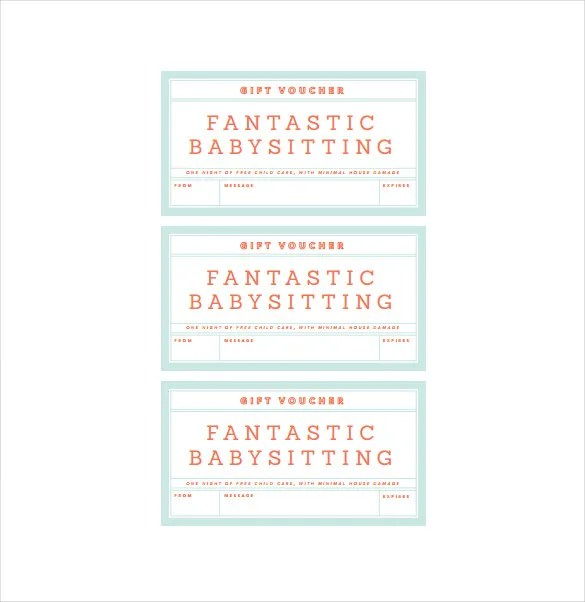 Baby sitting Voucher Template \u2013 10+ Free Word, PDF Documents - babysitting pass